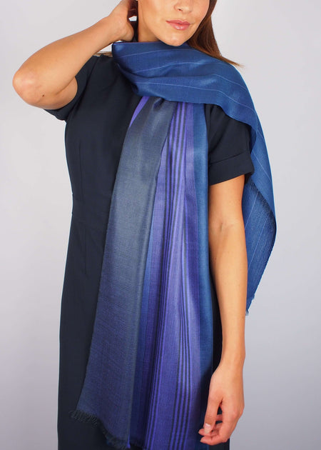 indigo silk scarf woman