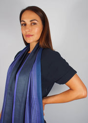 indigo wool scarf woman