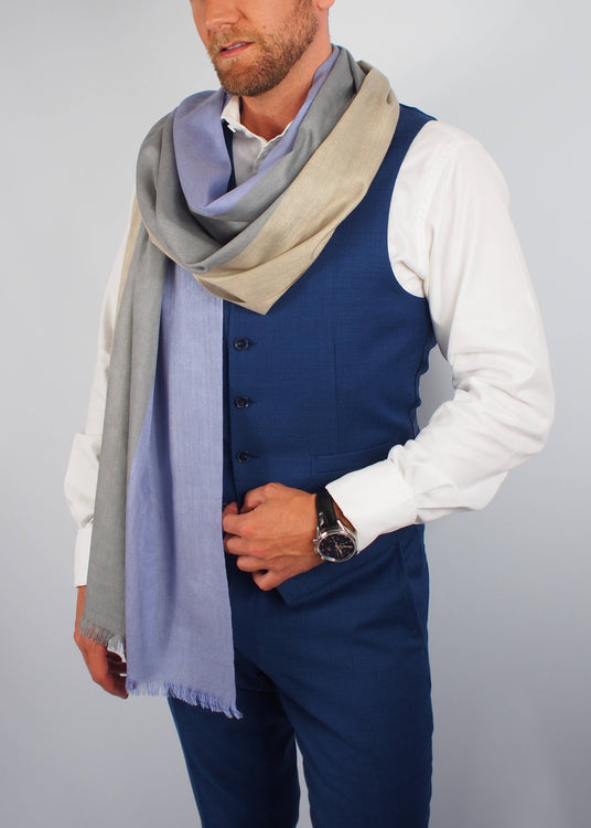 lilac gold occasion silk scarf man