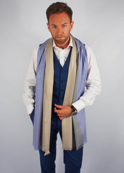 lilac gold occasion wool scarf man