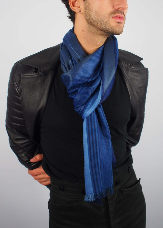 midnight bluel silk scarf man