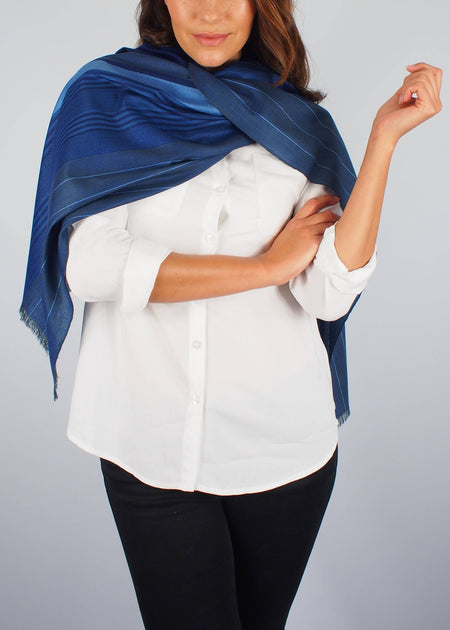 midnight bluel silk scarf woman