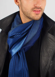 midnight blue wool scarf man