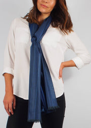 midnight blue wool scarf woman