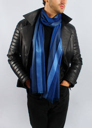 midnight blue wool silk scarf man