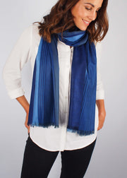 midnight blue wool silk scarf woman