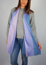 pale pastel blue pink unicorn wool scarf woman