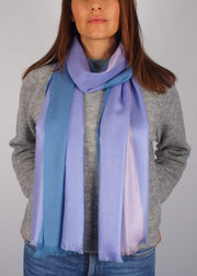 pale pastel blue pink unicorn wool silk scarf woman