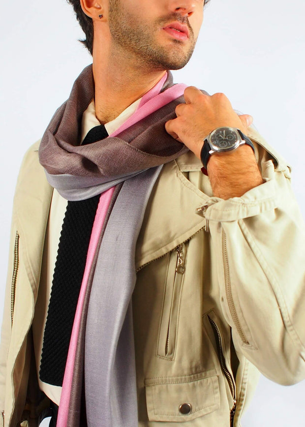 pink chocolate romantic silk scarf man
