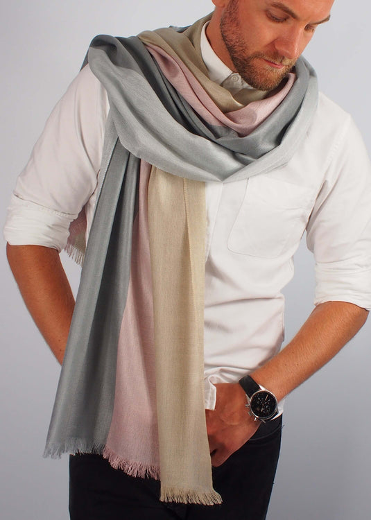 rose gold precious metals silk scarf man