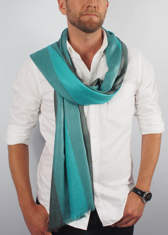 sea green emerald silk scarf man