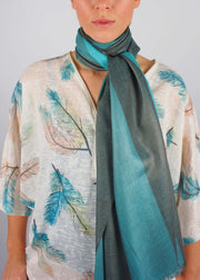 sea green emerald wool scarf woman