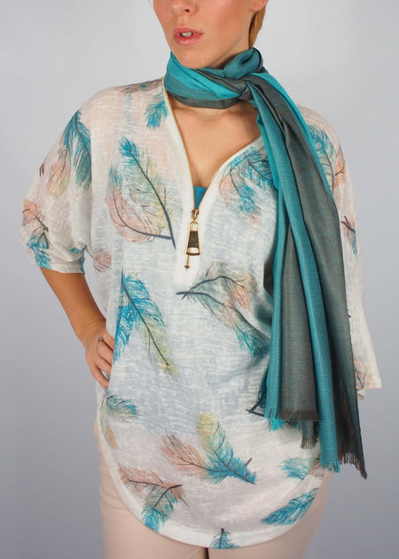 sea green mermaid silk scarf woman