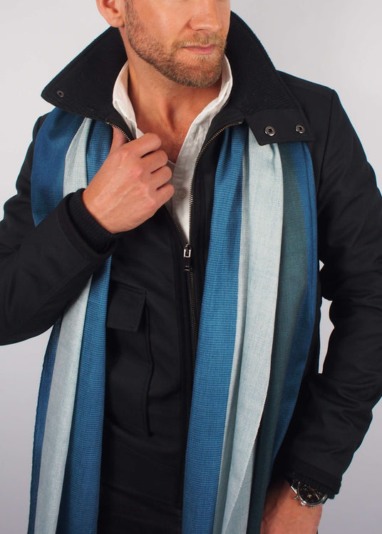 silver sea ice silk scarf man
