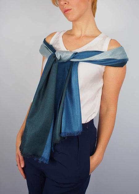 silver sea ice silk scarf woman
