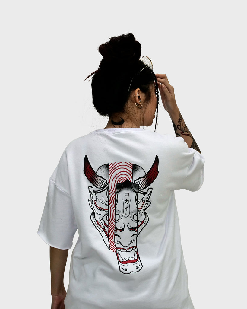 Hannya Mask French Terry Tee /// White