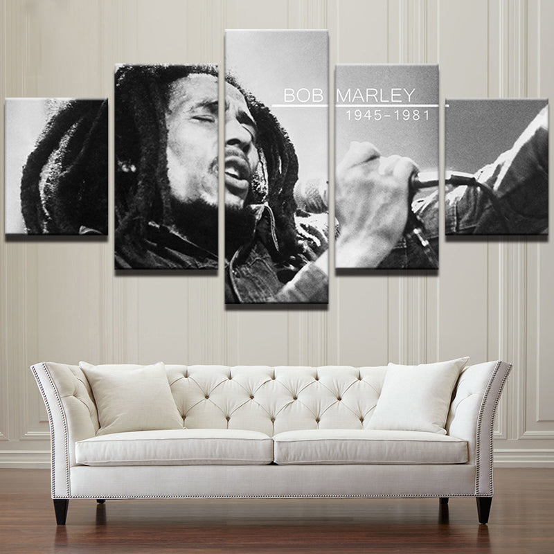 Bob Marley The Legend Black & White 5 Pieces Canvas Wall Art