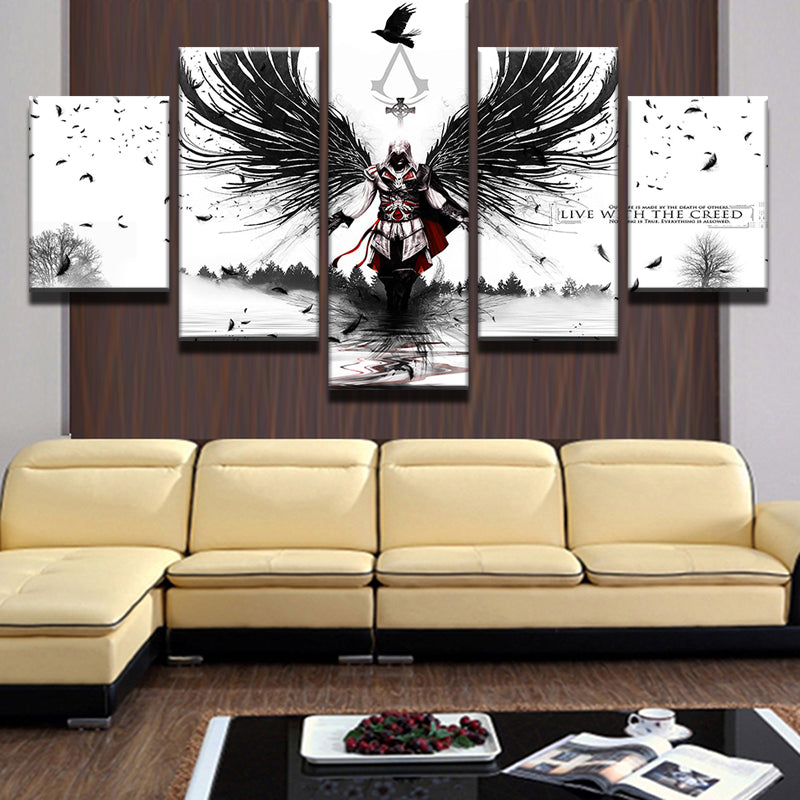 Assassins Creed Wings Crow 5 Pieces Canvas Wall Art – Wall Art Deco