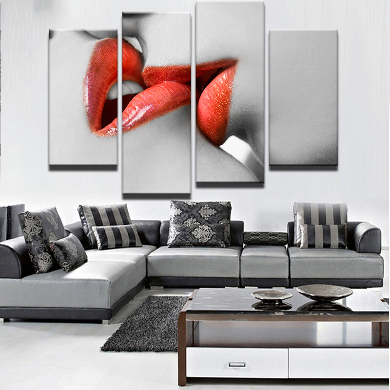 Kissing Women Red Lips 4 Pieces Canvas Wall Art