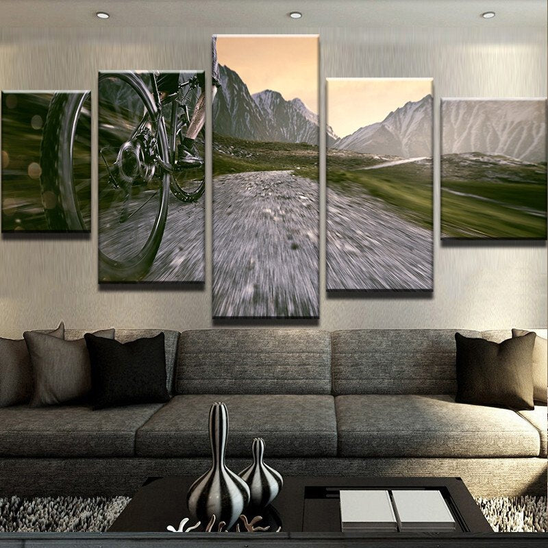 Bike Outdoor Sport 5 Pieces Canvas Wall