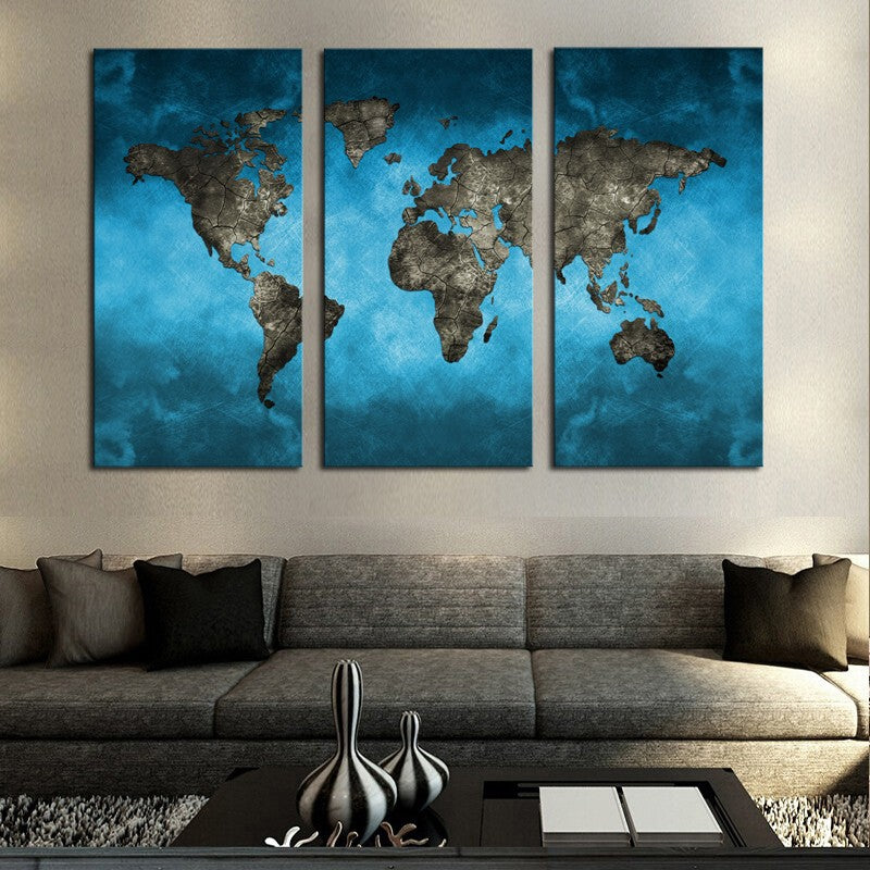 ModeRetro Blue World Map 3 Pieces Canvas Wall Art