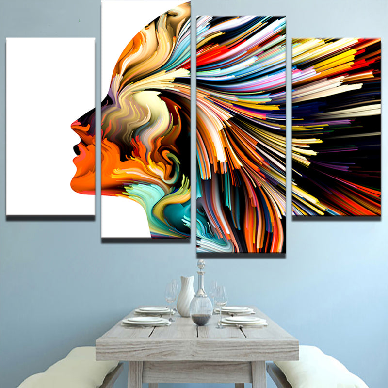 Abstract Woman Character Four Pieces Canvas Wall Art