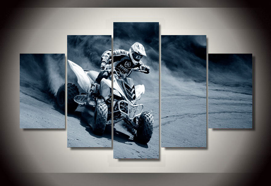 Quad Motorcycle Racing 5 Pieces Canvas Wall