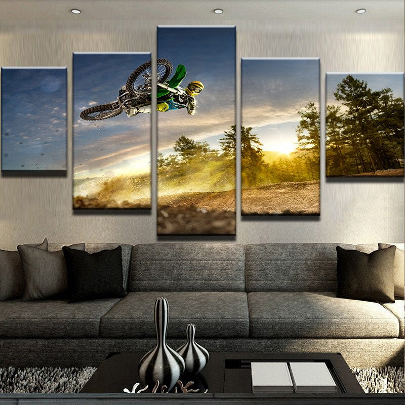 Motorbike Stunt 5 Pieces Canvas Wall