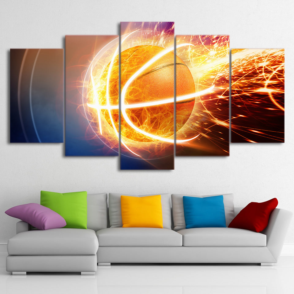 Fire Flame Basketball Painting 5 Pieces Canvas Wall Art