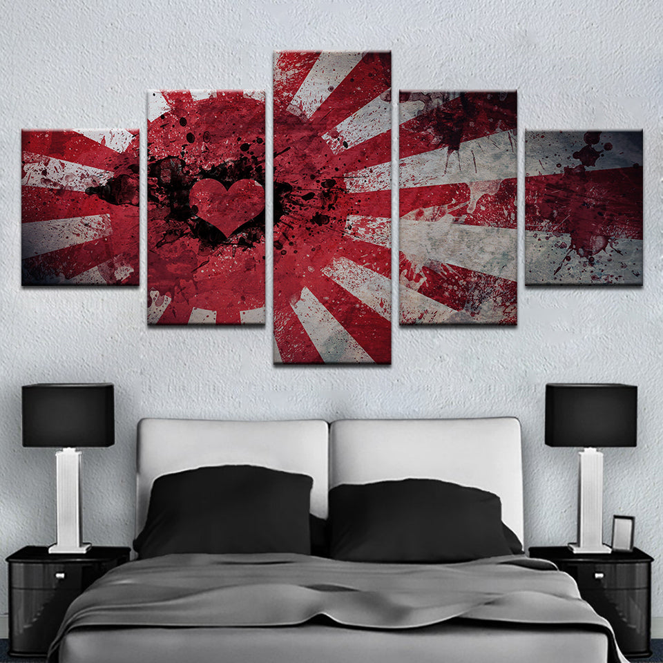 Love Heart Flag Painting 5 Pieces Canvas Wall