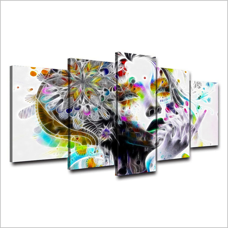 Psychedelic Girl With Flowers 5 Pieces Canvas Wall Art