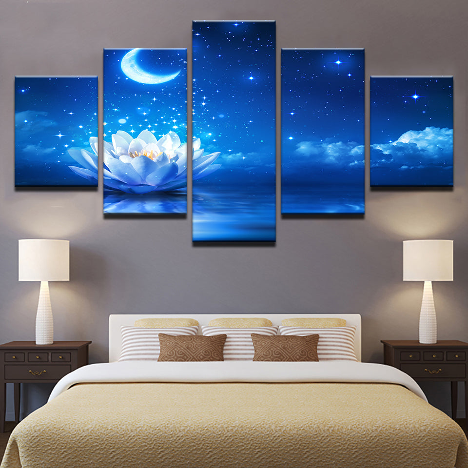 White Lotus Moonlight Water Lilies Flowers Painting 5 Pieces Canvas Wall Art