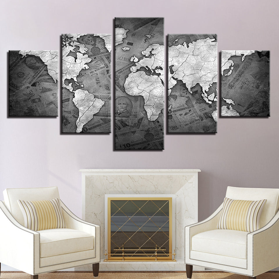 Retro Money World Map 5 Pieces Canvas Wall Art