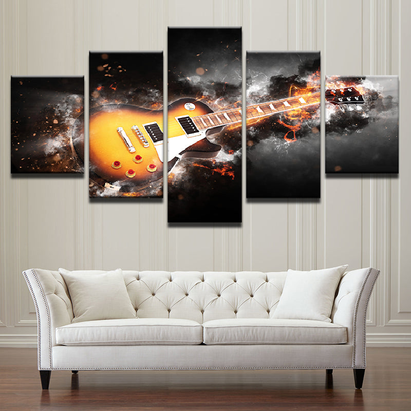 Electric Guitar Storming 5 Pieces Canvas Wall Art