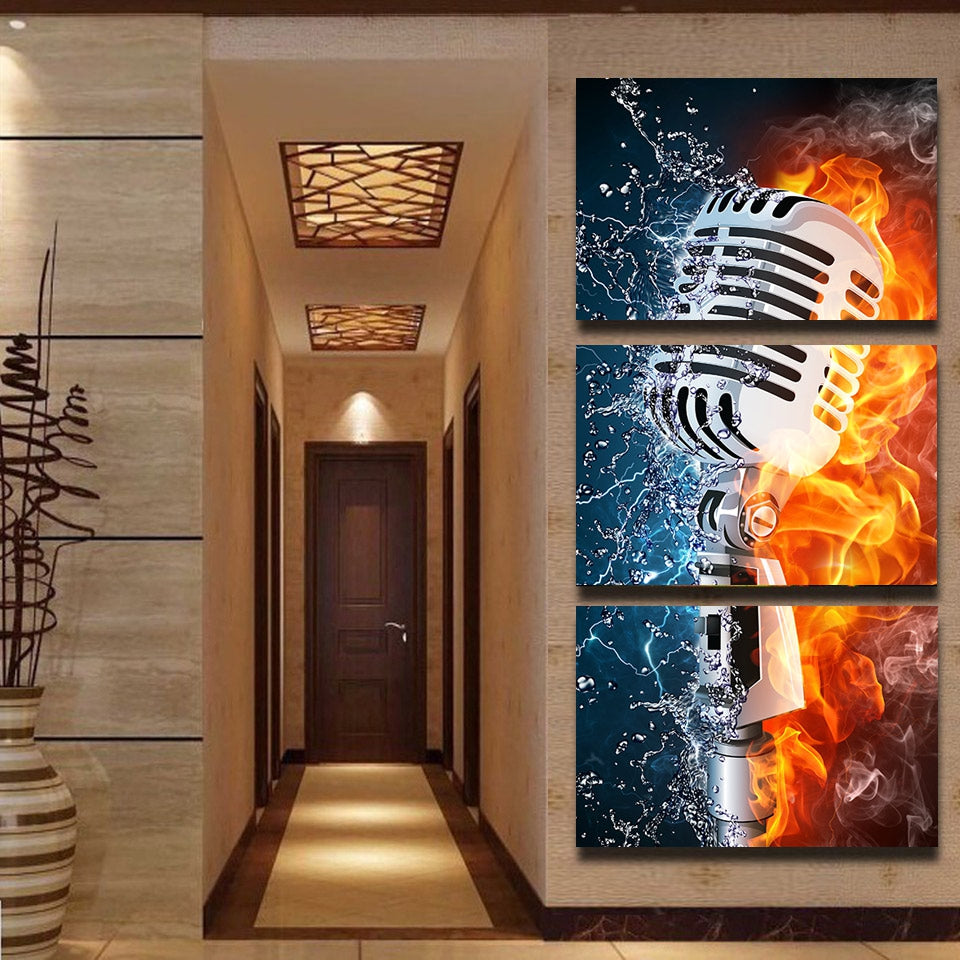 Microphone Fire Water Rock Music 3 Pieces Canvas Wall Art