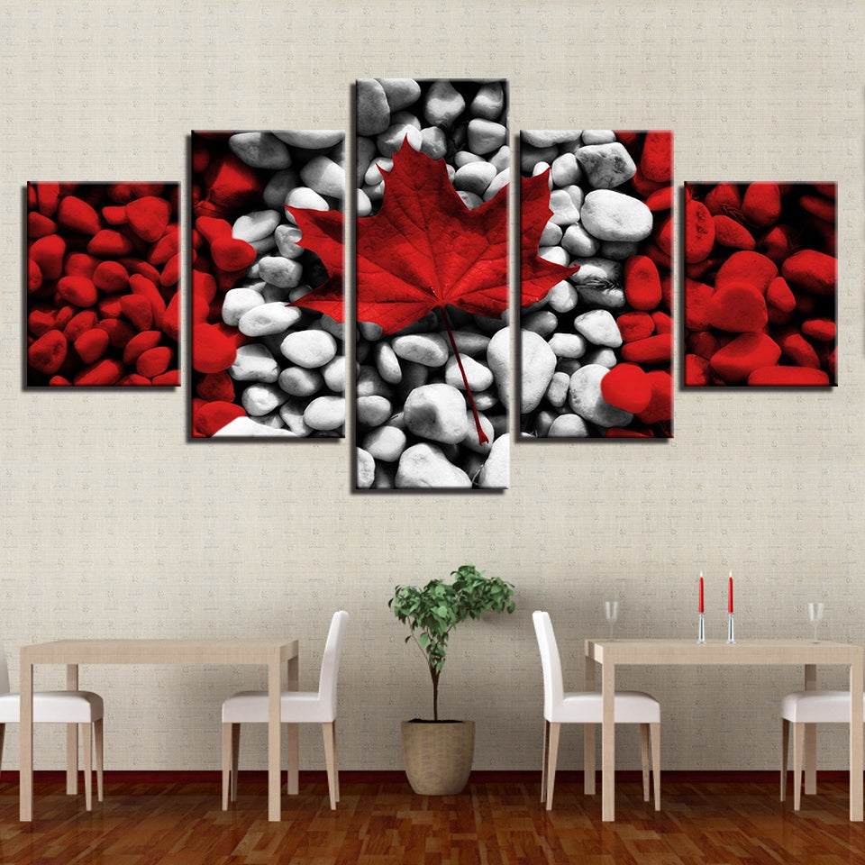 Canada Flag PaintingRed Maple Leaf Stones 5 Pieces Canvas Wall