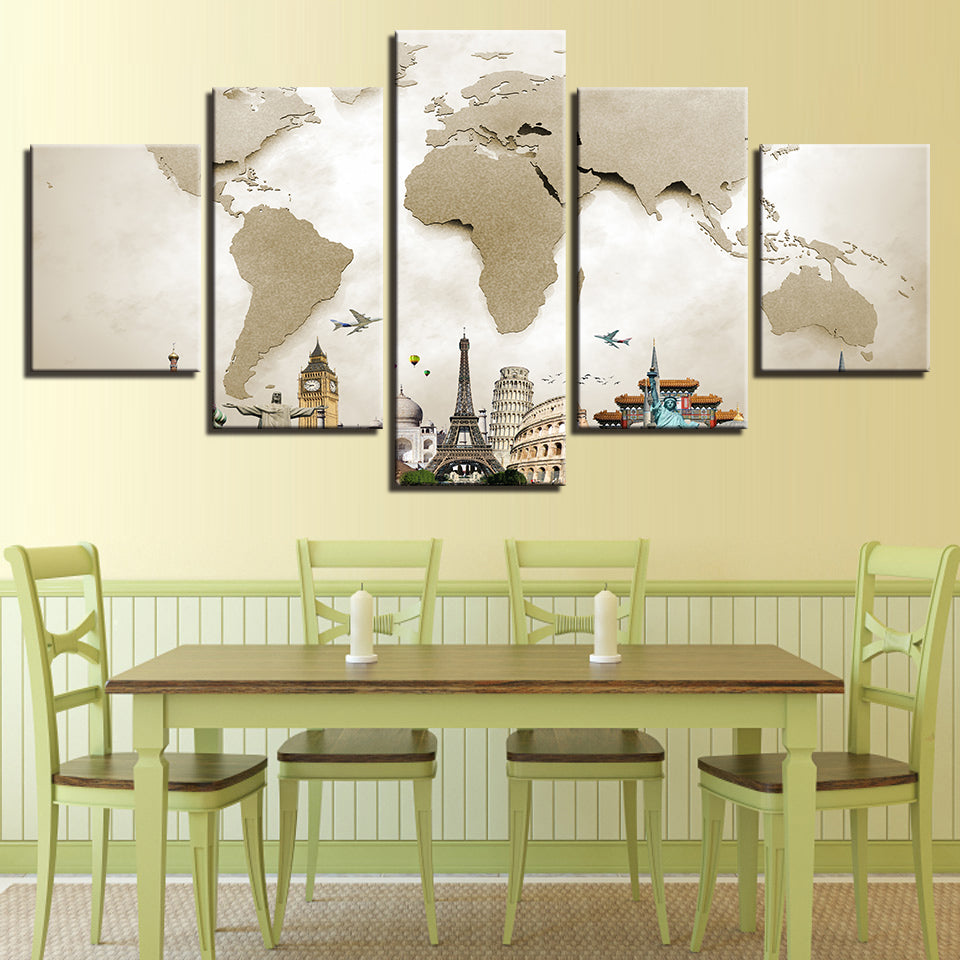 Vintage World Map Monuments 5 Pieces Canvas Wall Art – Wall Art Deco