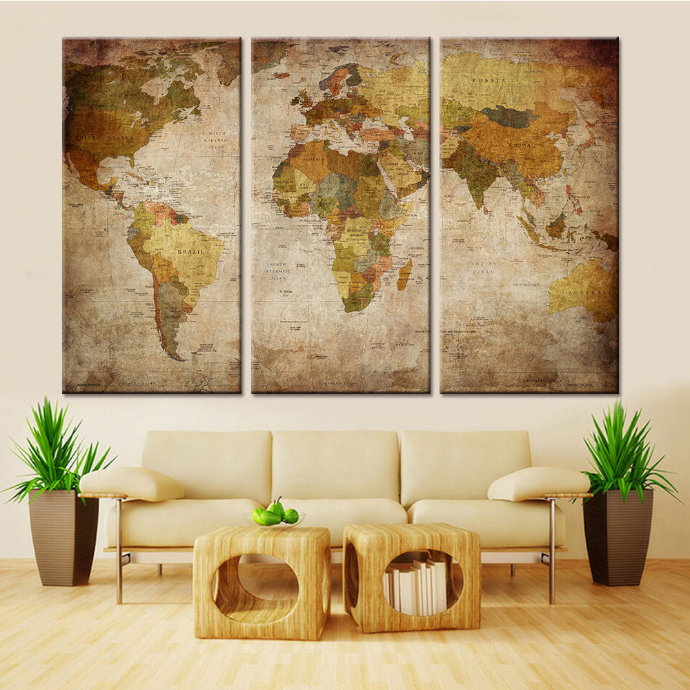 Retro vintage world map 3 pieces canvas wall art wall art deco retro vintage world map 3 pieces canvas wall art gumiabroncs Gallery