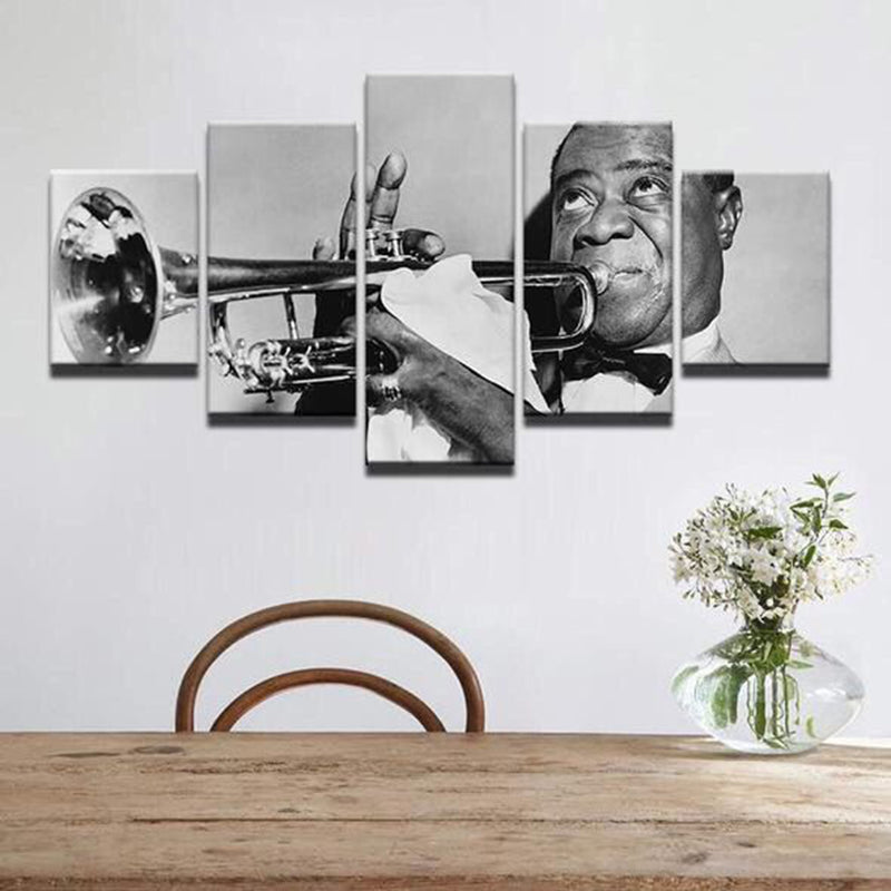 louis armstrong Jazz Musician Black & White 5 Pieces Canvas Wall Art