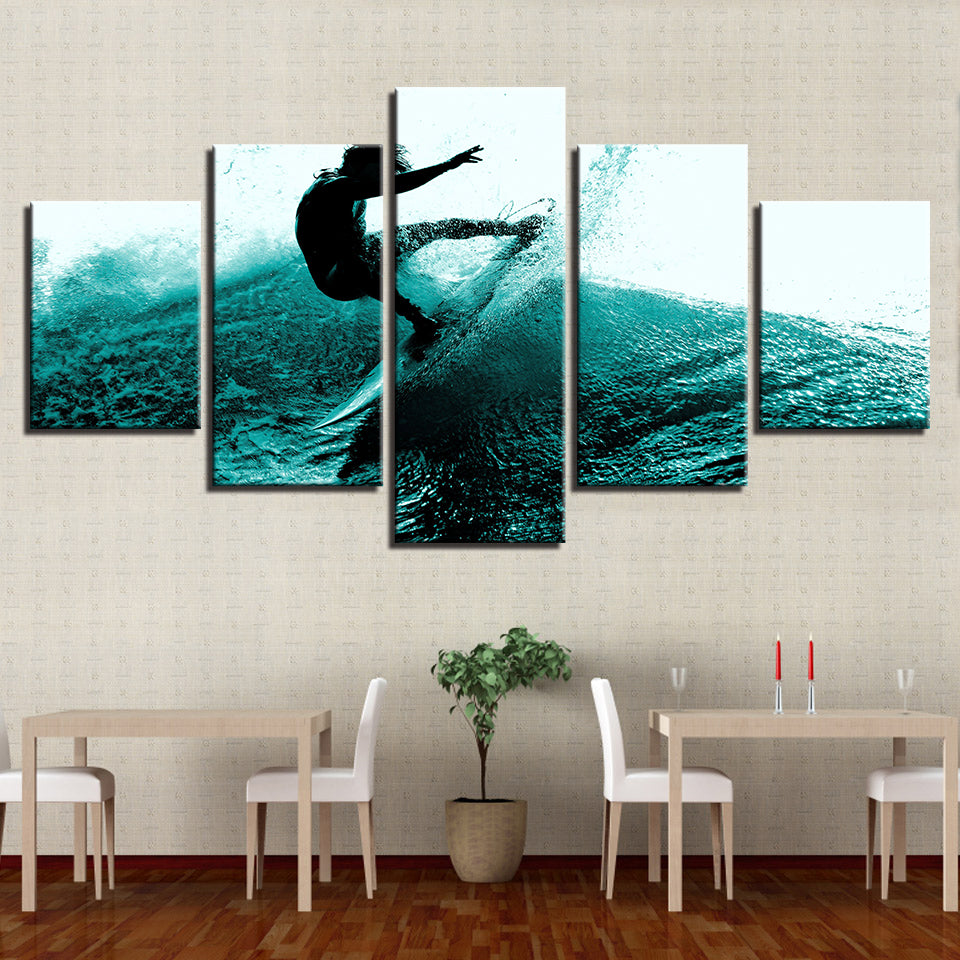 Surfing Painting Surfer Waves 5 Pieces Canvas Wall