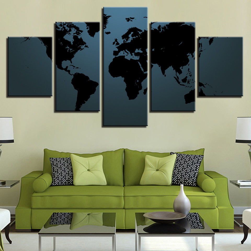 Black World Map 5 Pieces Canvas Wall Art