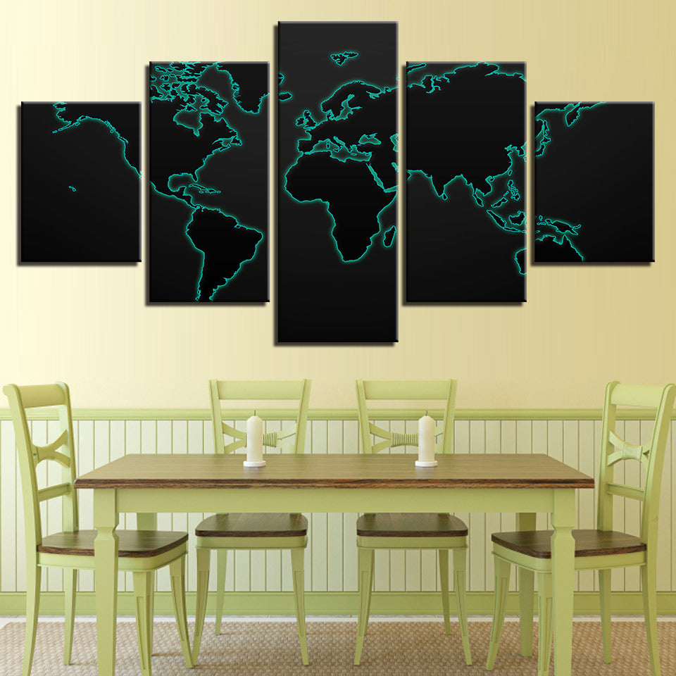 Glow World Map Black Background 5 Pieces Canvas Wall Art – Wall Art Deco