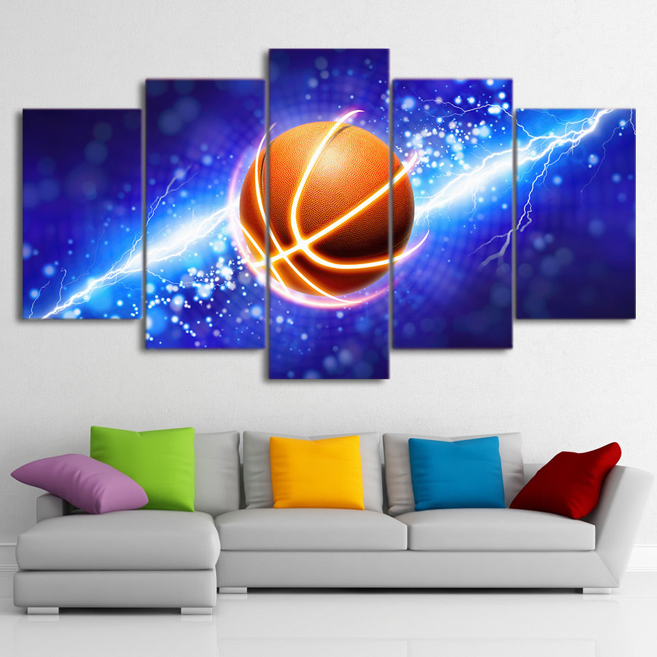 Lightning Basketball Painting 5 Pieces Canvas Wall Art