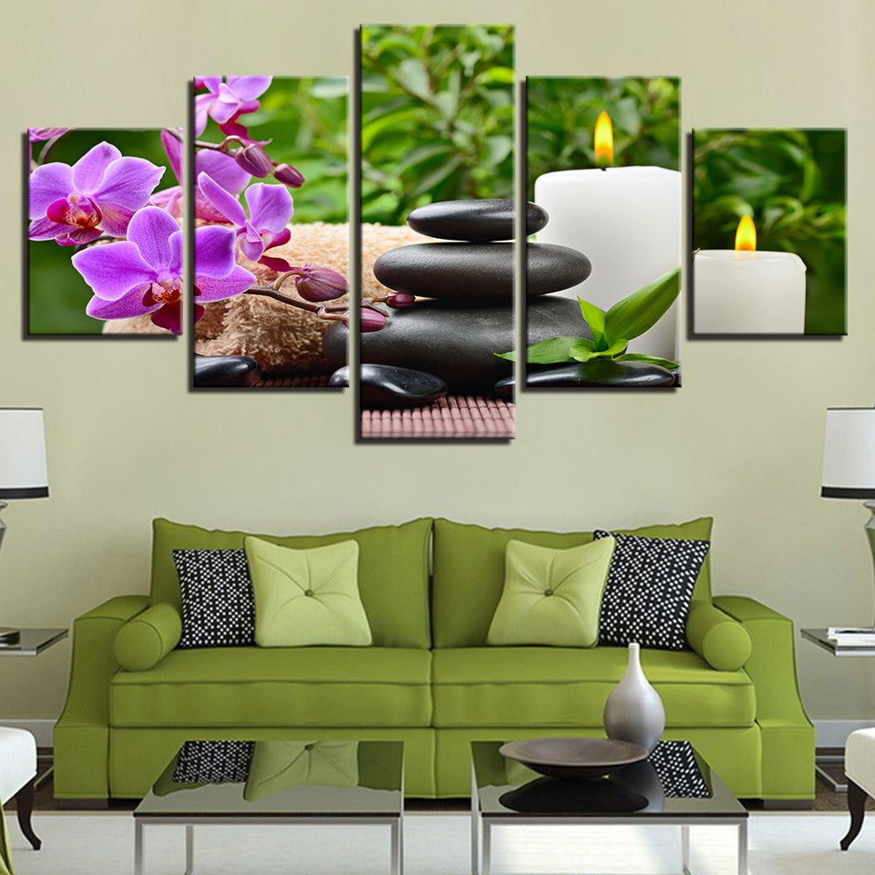 Orchid Pebbles Candle Stones Flower 5 Pieces Canvas Wall Art