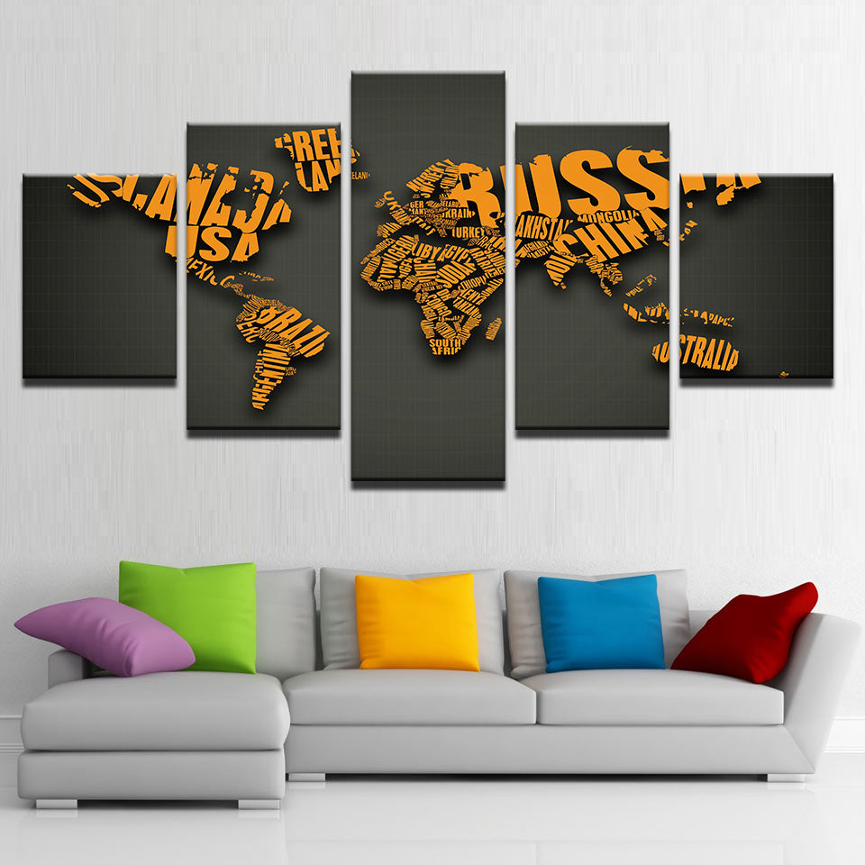 Orange Letters Combine World Map 5 Pieces Canvas Wall Art