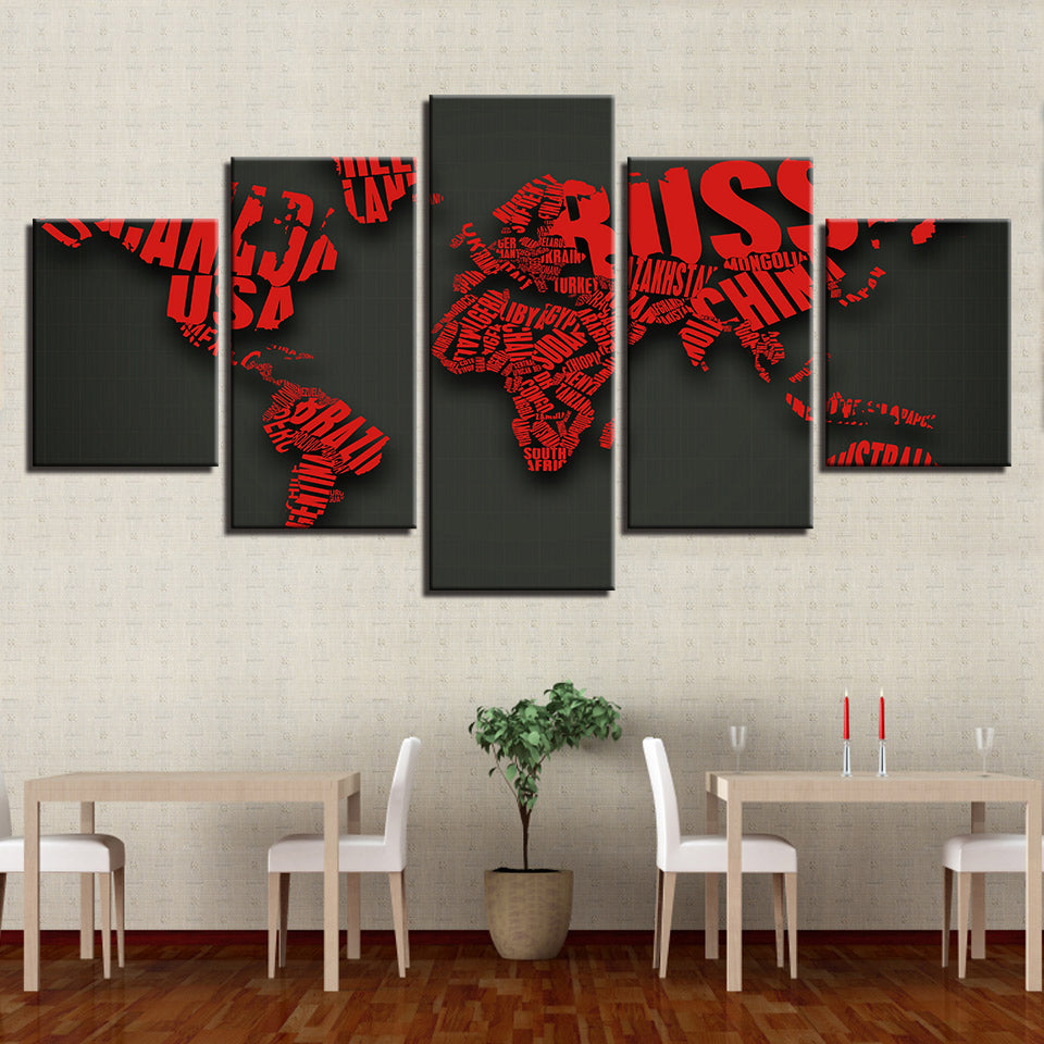 Red Letters Combine World Map 5 Pieces Canvas Wall Art