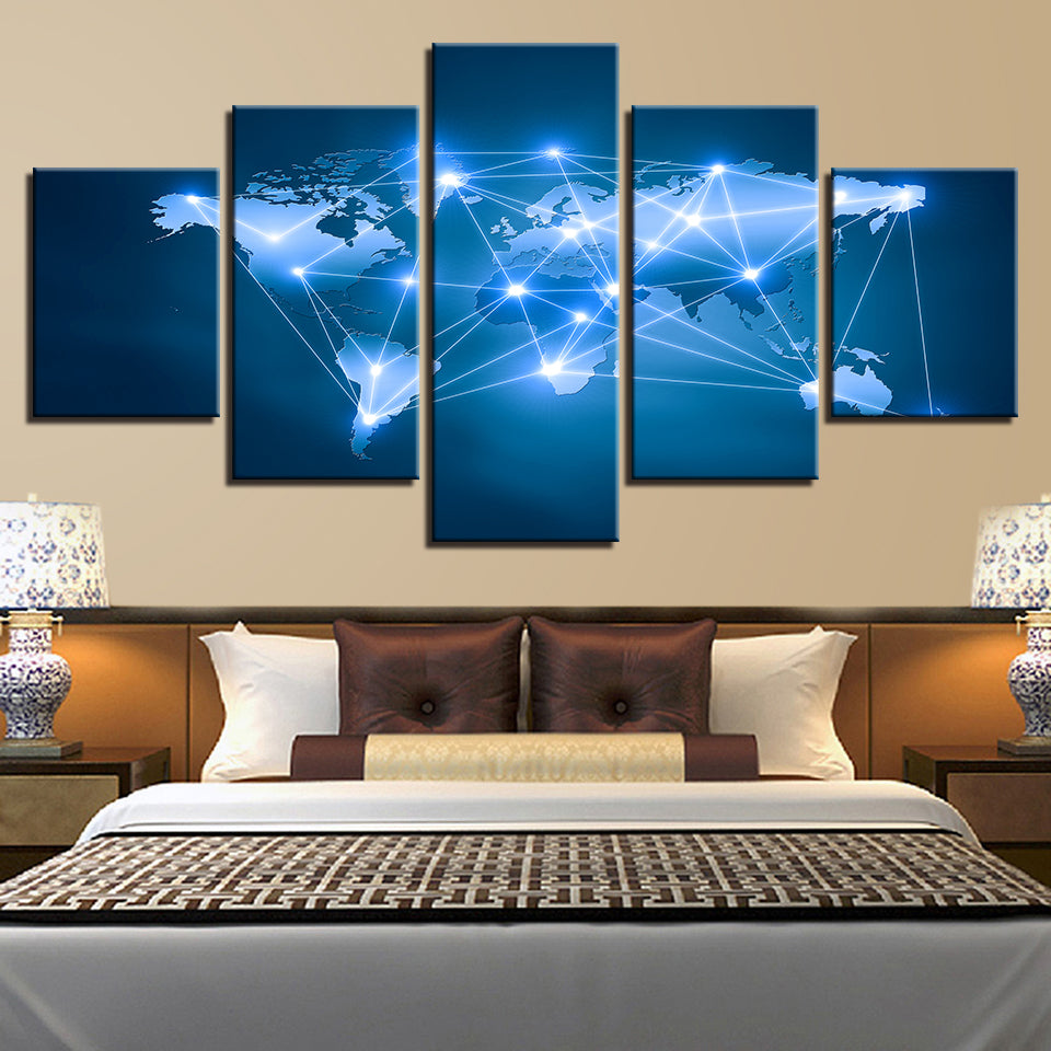 Blue Stars Sky Shine World Map 5 Pieces Canvas Wall Art