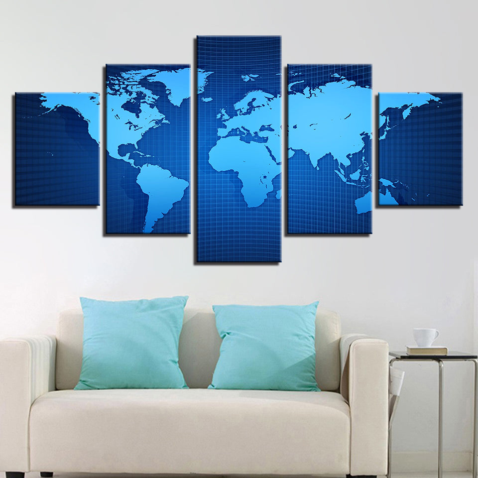 Blue World Map 5 Pieces Canvas Wall Art