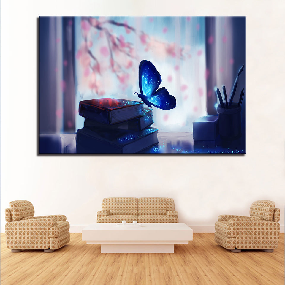 Beautiful Blue Glowing Butterfly And Book Pen 1 Piece Canvas Wall Art