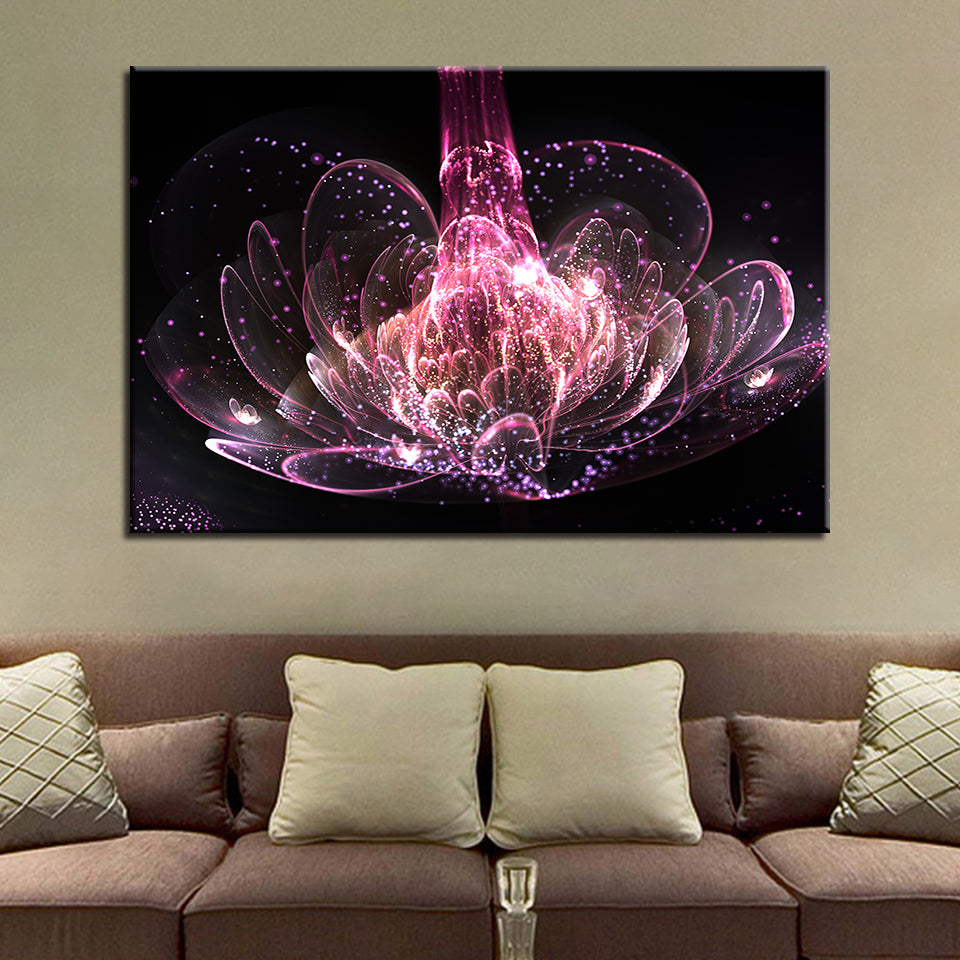 Wealth And Luxury Purple Water Lily Flower 1 Piece Canvas Wall Art